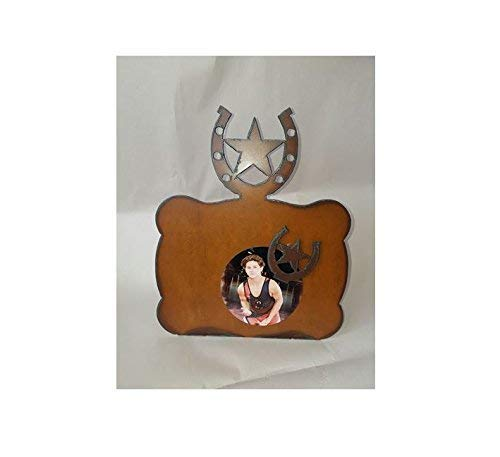 Horseshoe Star Western Star Picture Frame made out of Rusted Metal