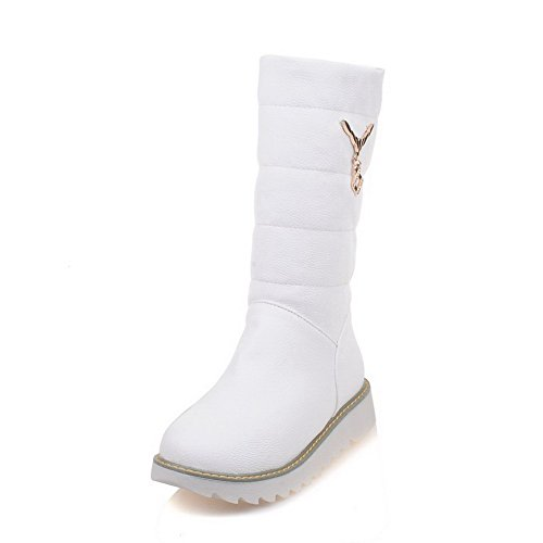 Women's Soft Material Top White WeiPoot Boots Mid Heels on Pull Solid Low Fwxfd