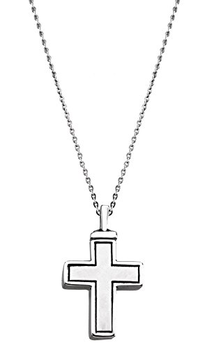 Men's Cross Ash Holder Necklace, Rhodium Plate Sterling Silver, 20'' by The Men's Jewelry Store
