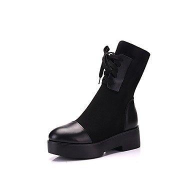 RTRY Zapatos De Mujer De Piel Auténtica Moda Otoño Invierno Botas Botas Chunky Talón Puntera Redonda Botines/Botines Lace-Up For Casual Parte &Amp; Noches Negro Us6.5-7 / Ue37 / Uk4 5-5 / Cn37 US10.5 / EU42 / UK8.5 / CN43