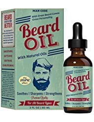 Price comparison product image Man Code Beard Oil with Natural Oils - Soothes,  Sharpens,  Strengthens,  Premium Quality Mustache and Beard Oil for all Beard Types 2oz / 60ml