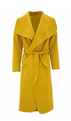 Rimi Hanger Womens Italian Long Duster Coat Ladies Long Sleeve French Belted Trench Waterfall Jacket Mustard One Size