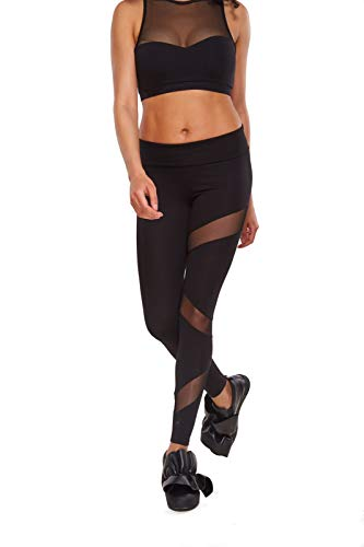 Zen Wear Yoga Pants for Women Mesh Leggings Made with Organic Cotton Black X-Small ()