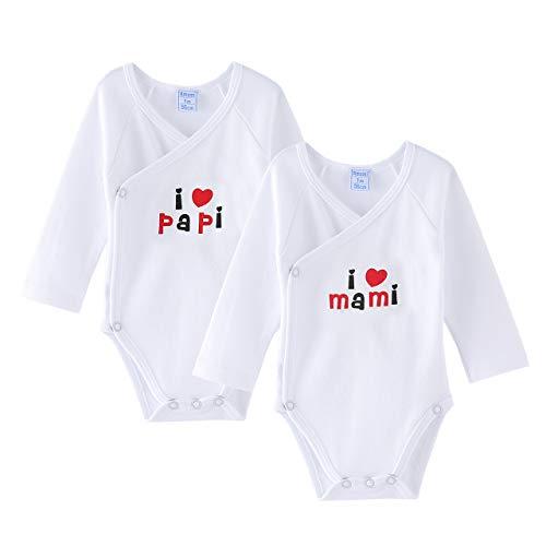 Amomí Bodys bebé recién nacido manga larga para bebé recién nacido personalizados I Love❤️ familiares 100% algodón…