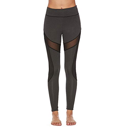 Meoliny Sexy Yoga Pants Mesh Patchwork High Waist Control Fitness Workout Leggings Running Sports ()