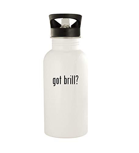 got brill? - 20oz Stainless Steel Water Bottle, White (Nerd Brille Rund)