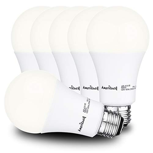 AmeriLuck 100W Equivalent LED Light Bulbs A19, 1600Lumens (15Watts), 3000K Warm White, Omni-Directional, Non-Dimmable, 6 Pack