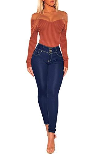 Donne Blu Medio Matita Casual Lungo Trousers Jeans Pantaloni Moda Onlyoustyle Strette Denim 7zqwSvp