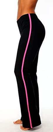 Womens Striped Cotton Spandex Boot Pant by Fitness Wear in Fushia Trim, Small