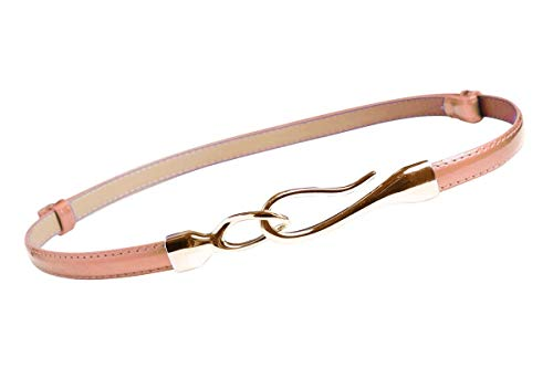 Nanxson Women's Solid Skinny Leather Buckle Belt Multi-colors PDW0002 pink ()