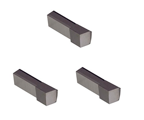 3 Pack LGT025D2RCR010.025 Width.075 Depth, Uncoated Carbide, Corner Radius .010'', THINBIT Grooving Insert for Steel, cast Iron and Stainless Steel with Interrupted cuts by GROOVE 'N TURN
