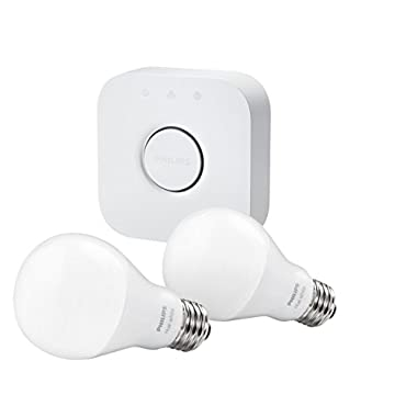 Philips Hue LED Starter Kit (2 bulbs + Hue Bridge hub), Newest Model, Works with Alexa