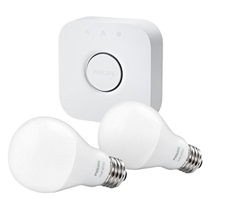 Philips Hue White A19 Starter Kit with two A19 LED light bulbs and bridge (hub), Works with Alexa (Philips Hue Lux A19 Starter Kit compare prices)