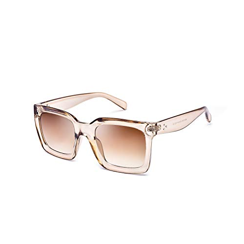 Mosanana Square Sunglasses for Women Men 2019 Fashion Shades Clear Brown Transparent Fashionable Oversized Trendy Vintage Classic Ladies UV400 Oprah Unique Cool Retro Sun Glasses Sunnies Small Face