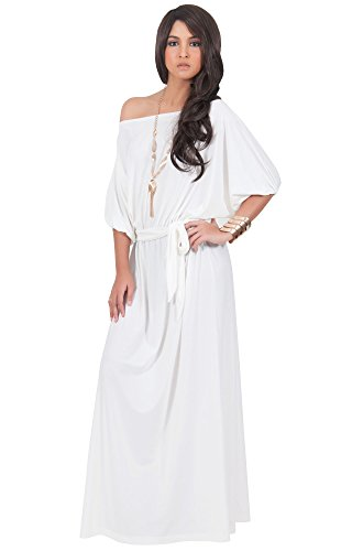 KOH KOH Womens Long Sexy One Off Shoulder Flowy Casual 3/4 Short Sleeve Cocktail Wedding Party Guest Maternity Gown Gowns Maxi Dress Dresses, Ivory White M 8-10