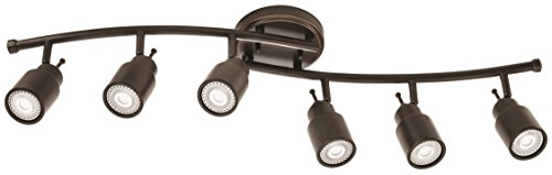 Lithonia Lighting LTFSTCYL MR16GU10 LED 27K 6H ORB M4 6-light Fixed-Track Lighting Kit, Oil Rubbed Bronze Bronze Right Track