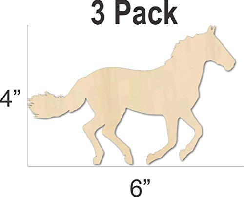 Running Horse Wood Cutout Shape 6 Inches - DIY party craft - decorate from model horse jumps