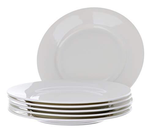 "WHITE PLATES 8"" SET FOR 6, PORCELAIN SALAD PLATES KITCHEN SET MICROWAVE SAFE HOME/APARTMENT ESSENTIALS"
