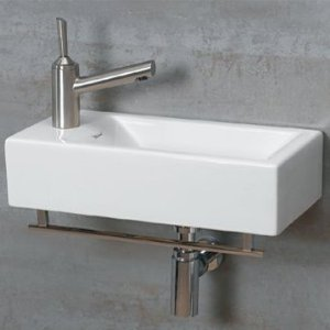 Whitehaus WH1-114RTB-WH Isabella 19-3/4-Inch Wall-Mount Lavatory Basin with Central Drain, Attached Towel Bar, and Right-Hand Faucet Drilling, White