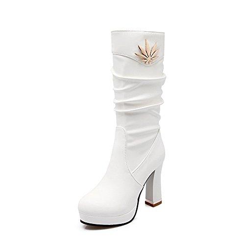 - 1TO9 Ladies Chunky Heels Platform Metal Ornament White Short Plush Boots - 10 B(M) US