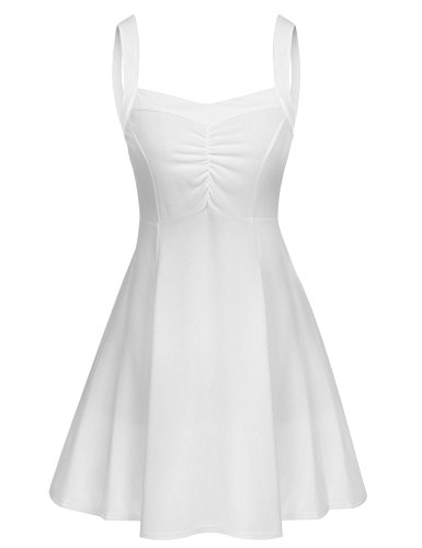 Elesol Women's A-Line Sleeveless Ruched Pleated Party Dress Plus Size (Sexy Low Cut White Dress)