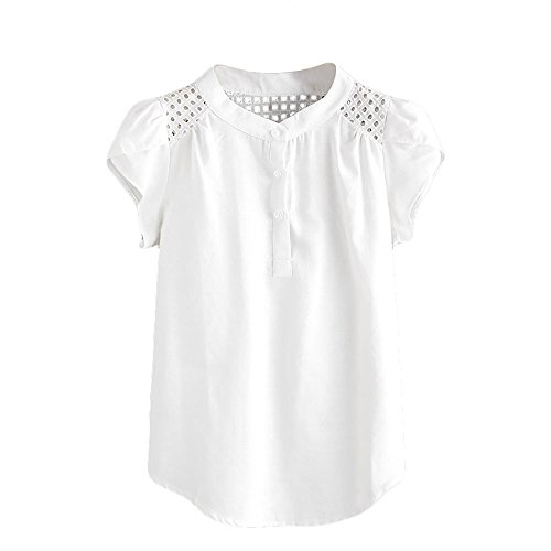 LUCA Women Solid Blouse Short Butterfly Sleeve O-Neck Hollow Out T-Shirt Casual Tops Blouse White (Butterfly Dress Embellished)