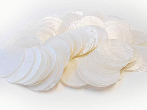 "- All Natural Set of Capiz Shells (No Holes)| Beautiful Set of 100 1"" Capiz Shells 