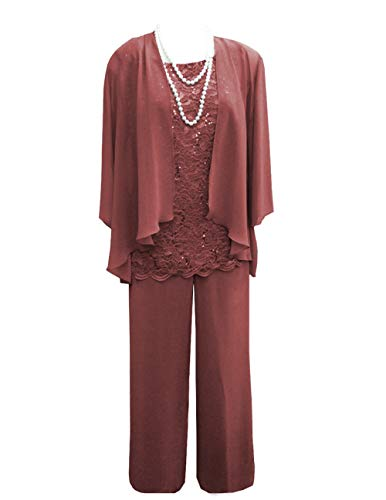 (Women's 3 Pieces Lace Chiffon Mother of Bride Dress Pant Suits with Jacket Outfit for Wedding Groom(US cm, Russet))