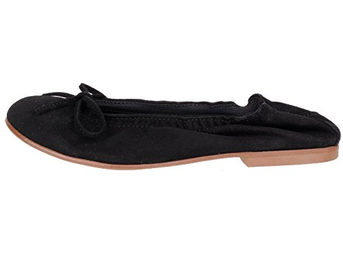clic! CL- 7290 DE Mädchen Damen Ballerinas mit Schleife Schwarz (Ante Negro)