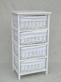 DonRegaloWeb - Cajonera ancha de madera blanca con 4 cestos ...