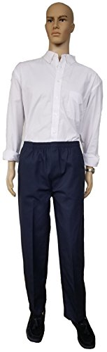 Twill Zipper - J & E Talit Men's Easy Dressing Full Elastic Waist Twill Casual Pull On Pant With Mock Fly (Medium, Navy)