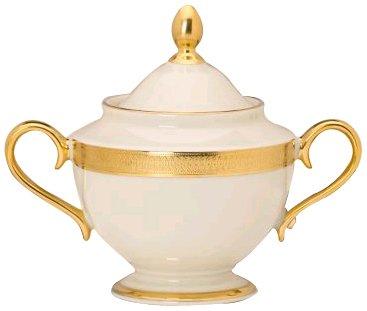 Lenox Lowell Gold Banded Ivory China Sugar Bowl