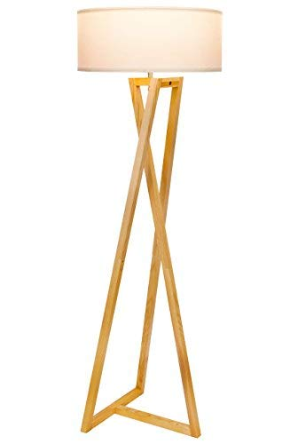 """Brightech""""Z"""" Wood Tripod Rustic Floor Lamp - Mid Century Modern, Standing LED Light for Living Rooms - Tall Lighting for Contemporary Bedrooms & Offices"""