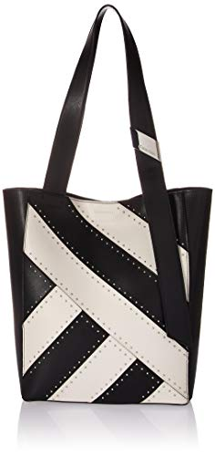 - Calvin Klein womens Calvin Klein Karsyn Nappa Leather Stud Belted North/South Tote, black studded, One Size