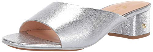 Yosi Samra Women's Dante Heeled Sandal, Silver Textured Leather, 8 M US