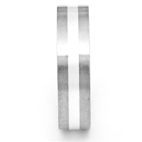 6mm Titanium Pip Cut Band Sterling Silver Inlay Unisex Satin Wedding Ring Size 9-13