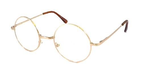 [JOHN LENNON Vintage Round Retro Large Metal Frame Clear Lens Eye Glasses Gold] (Cheap Nerd Glasses)