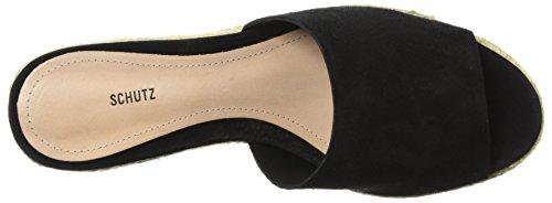 Thalia WoMen Black Espadrille Wedge Schutz Sandal wP8Ra1qq5