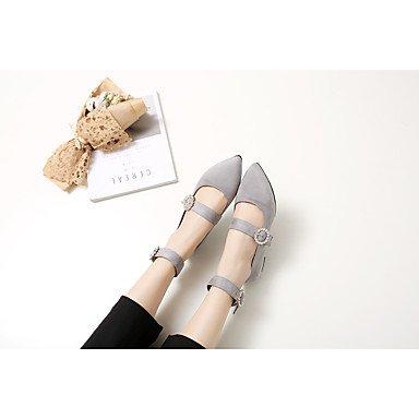 Cómodo y elegante soporte de zapatos de las mujeres pisos primavera verano otoño otros microfibra oficina & carrera partido y vestido de noche soporte de talón rhinestone negro blanco gris blanco