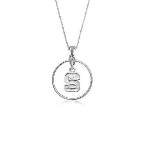 (NC State University Wolfpack NCSU Sterling Silver Jewelry by Dayna Designs (Open Drop Necklace))