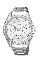 Pulsar Multifunction Swarovski® Crystals Silver Dial Women's watch #PP6009