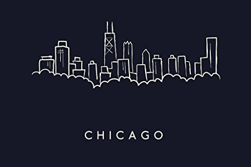 Chicago City Skyline Pencil Sketch Art Print Mural Giant Poster 54x36 inch
