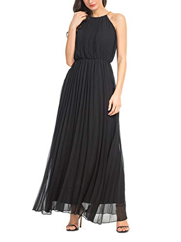 Persun Women's Open Shoulder Cut Out Back Pleated Chiffon Sleeveless Maxi Dress Black X-Large
