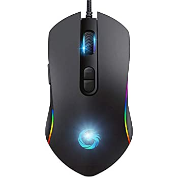 Gaming Mouse Wired,Ergonomic Game USB Wired Computer Mice,4 Mode Breathing  LED Light,6 Adjustable DPI Levels With 7 Buttons Programmable for Windows