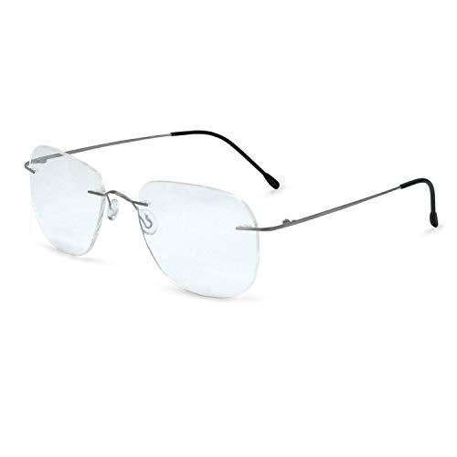 OCCI CHIARI Titanium Men Rectangular Rimless Eyewear Frames Lightweight with Optical Clear Lens (6003-Gun)