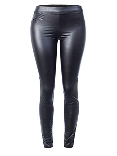 (Design by Olivia Women's Stretchy Faux Leather Fleece Lined Mid Rise Skinny Coated Legging Pants Black L )