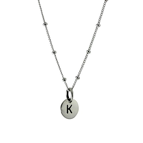 apop nyc Sterling Silver Mini Alphabet Disc Pendant, Letter M, 16 inch Chain