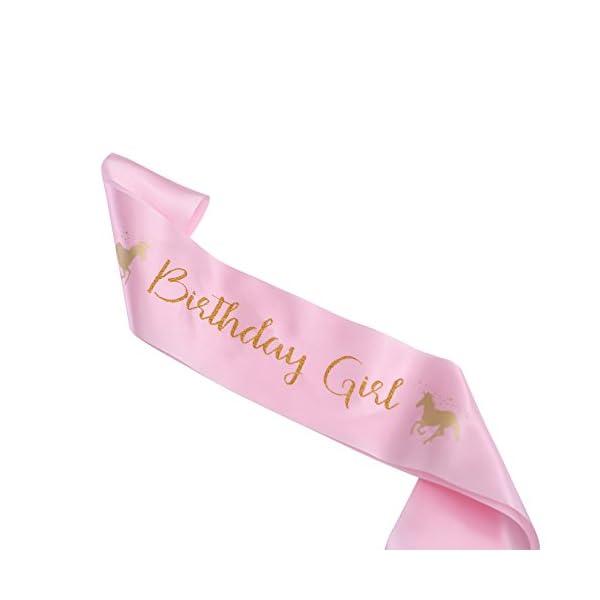Cooper Fun Unicorn Birthday Set of Gold Glitter Unicorn Headband Pink Satin Sash for Happy Birthday Unicorn Party… 8