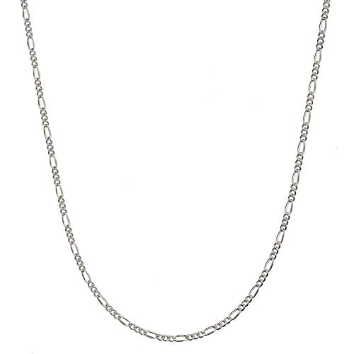 """Solid 925 Sterling Silver 2.2mm Italian Figaro Link Chain Necklace - 20"""""""