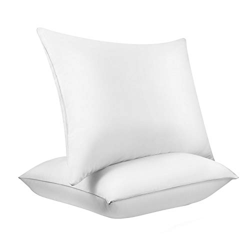 Bed Pillows for Sleeping, KURNPHY NOAH 100% PREMIUM Cotton White Down Fluffy Pillows Set - Super Soft Pillow Relief Neck Pain Anti-mite & Hypoallergenic Side Sleepers Easy Care-Standard/Queen